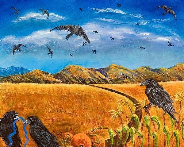 Susan Culver  Fine Art Prints On Canvas  Painting - Blue Ribbon Crows by Susan Culver