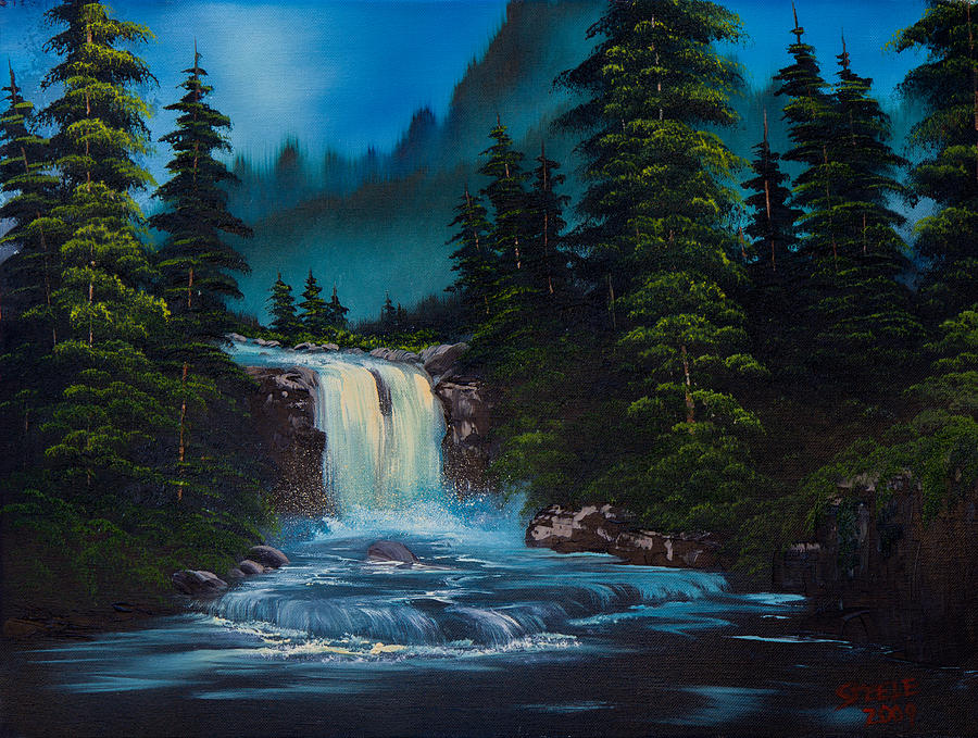 Landscape Painting - Mountain Falls by Chris Steele