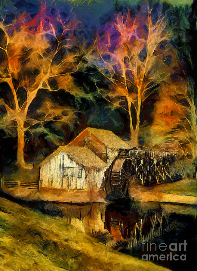 Virginia Painting - Blue Ridge - Mabry Mill Painted At Night II by Dan Carmichael