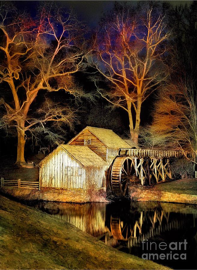 Virginia Painting - Blue Ridge - Mabry Mill Painted At Night IIi by Dan Carmichael