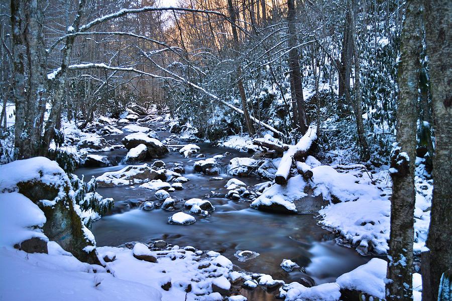 Blue Ridge Mountain Stream With Snow