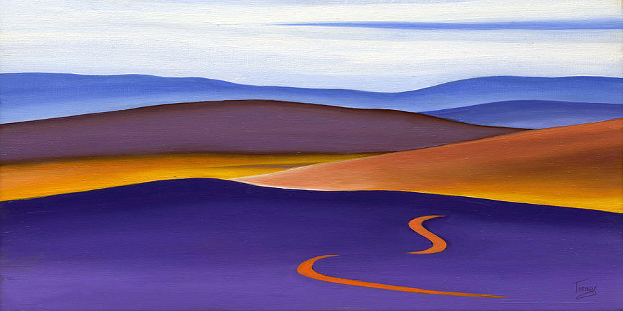 Blue Ridge Painting - Blue Ridge Orange Mountains Sky And Road In Fall by Catherine Twomey