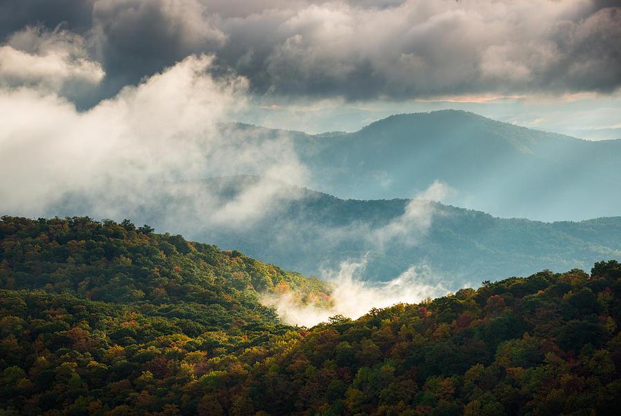 Blue Ridge Parkway Photograph - Blue Ridge Parkway Nc Autumn Morning by Dave Allen