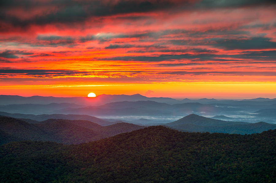 North Carolina Blue Ridge Parkway NC Autumn Sunrise by Dave Allen