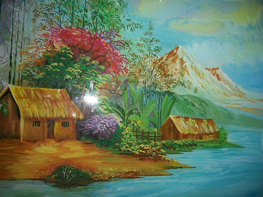Colorful Landscape Scene.. Glass Art - Blue River by Dvipa Thakkar