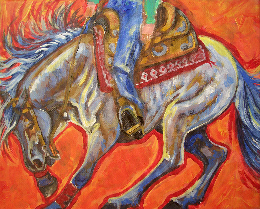 Horse Painting - Blue Roan Reining Horse Spin by Jenn Cunningham