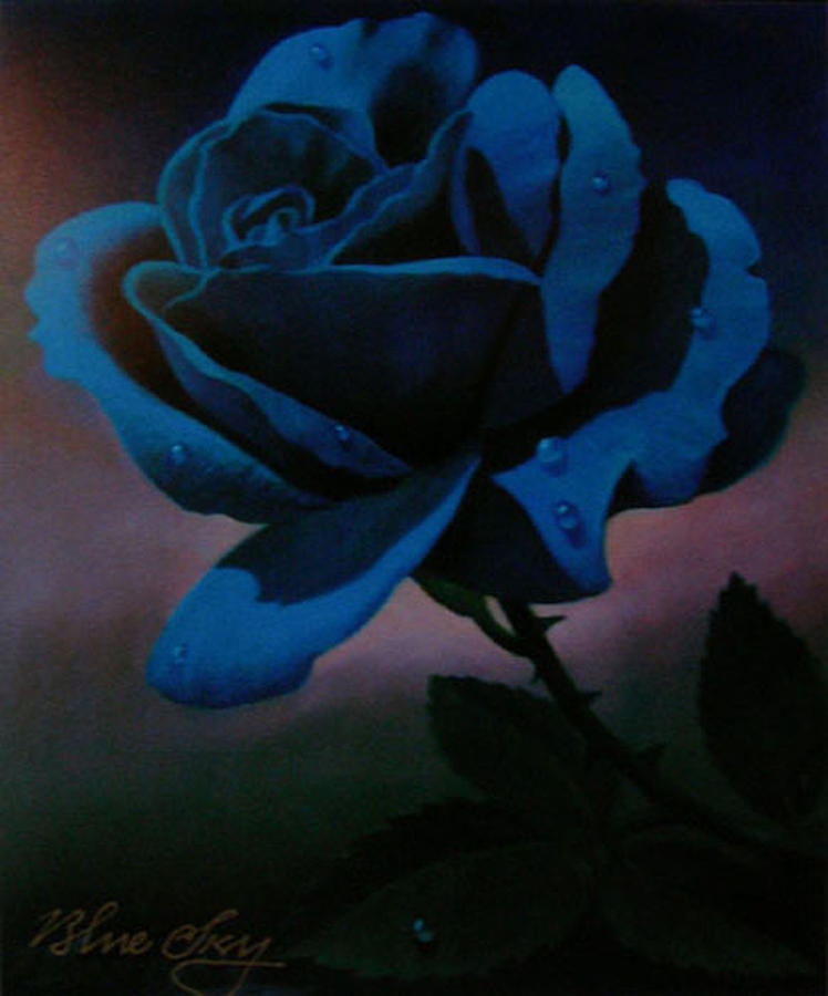 Rose Painting - Blue Rose by Blue Sky