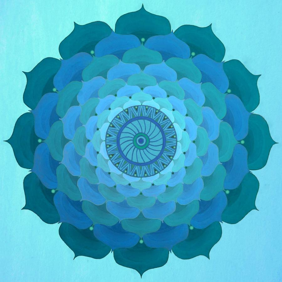 Blue Rose Mandala Painting by Vlatka Kelc