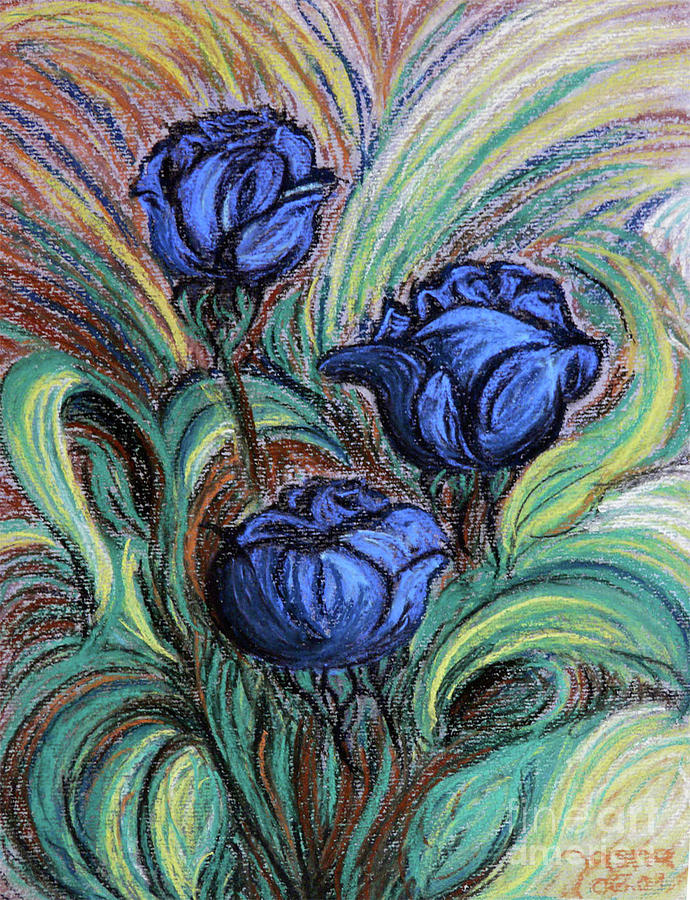 Flowers Drawing - Blue Roses by Jasna Dragun
