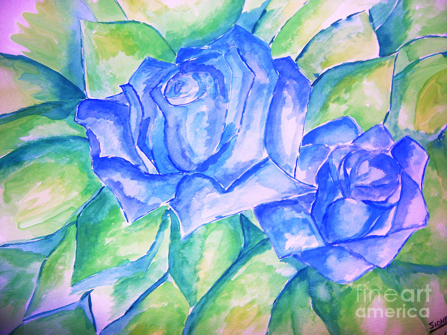 Floral Painting - Blue Roses by Sidney Holmes