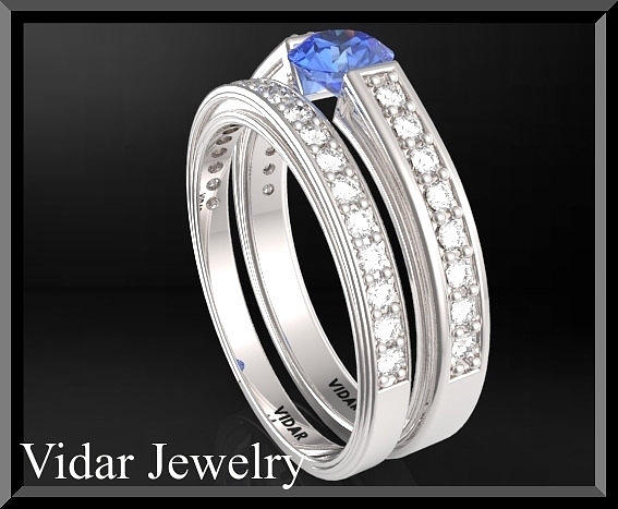 Gemstone Jewelry - Blue Sapphire And Diamond 14k Wedding Ring And Engagement Ring Set by Roi Avidar