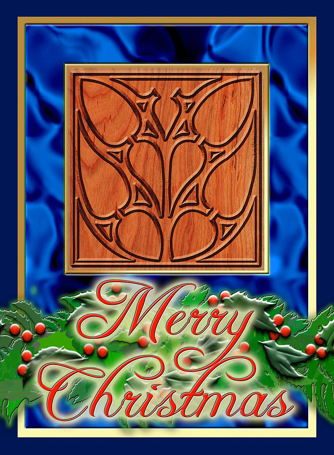 Christmas Digital Art - Blue Satin Merry Christmas by Melissa A Benson