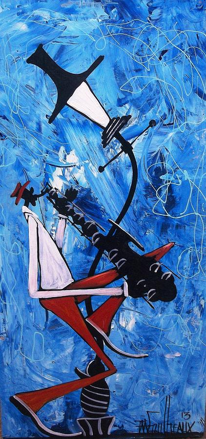 Saxophone Painting - Blue Sax by Guilbeaux Gallery