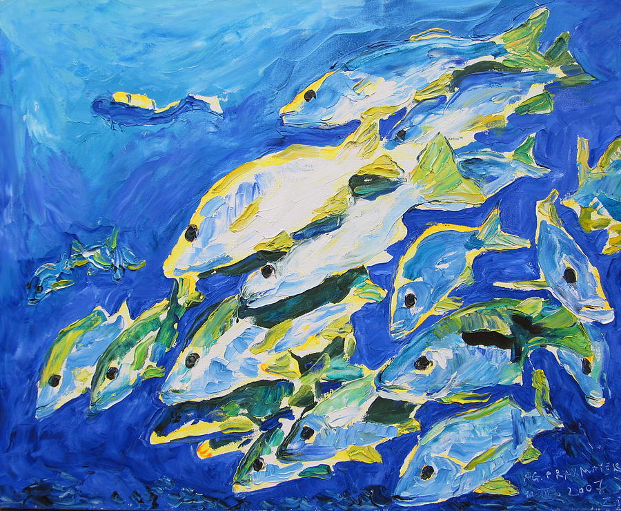 Blue school of fish painting by agnieszka praxmayer for School of fish