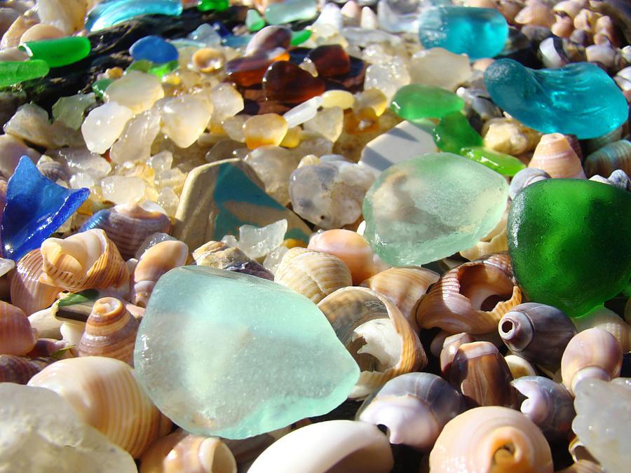 Seaglass Photograph - Blue Seaglass Beach Art Prints Shells Agates by Baslee Troutman