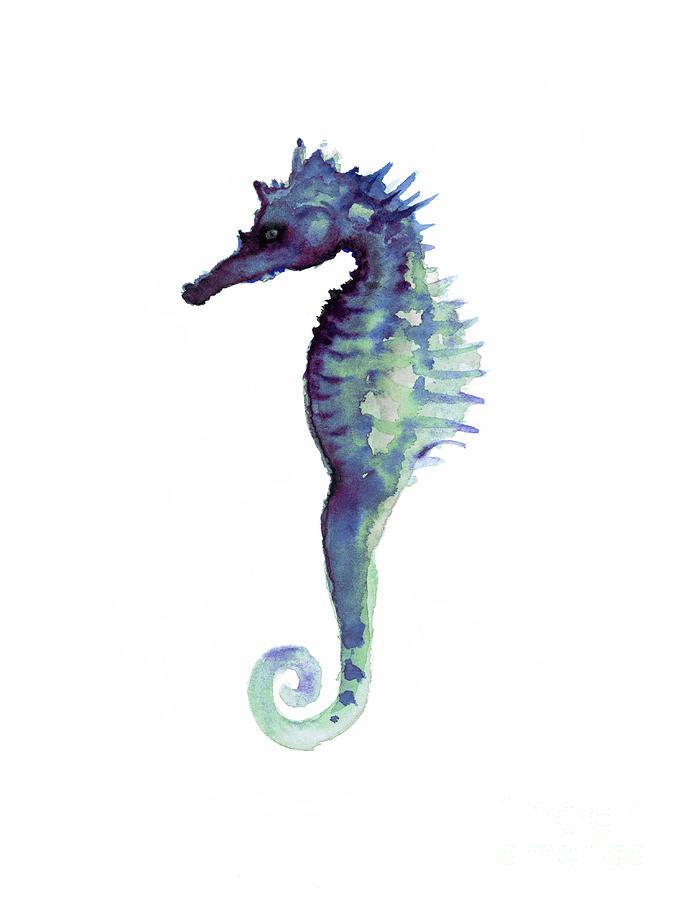 blue seahorse painting by joanna szmerdt