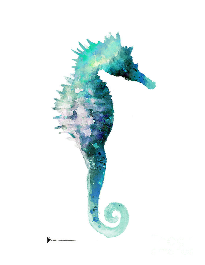 Blue Seahorse Watercolor Art Print Painting Painting By