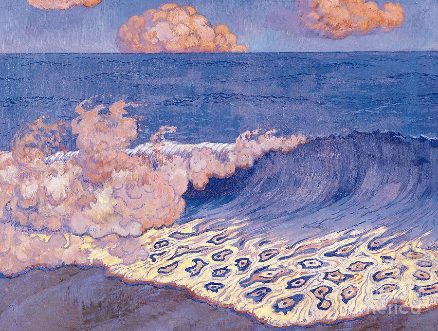 Breakers Painting - Blue Seascape Wave Effect by Georges Lacombe