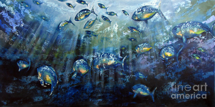 Fish Painting - Blue Shoal by Dave Hancock