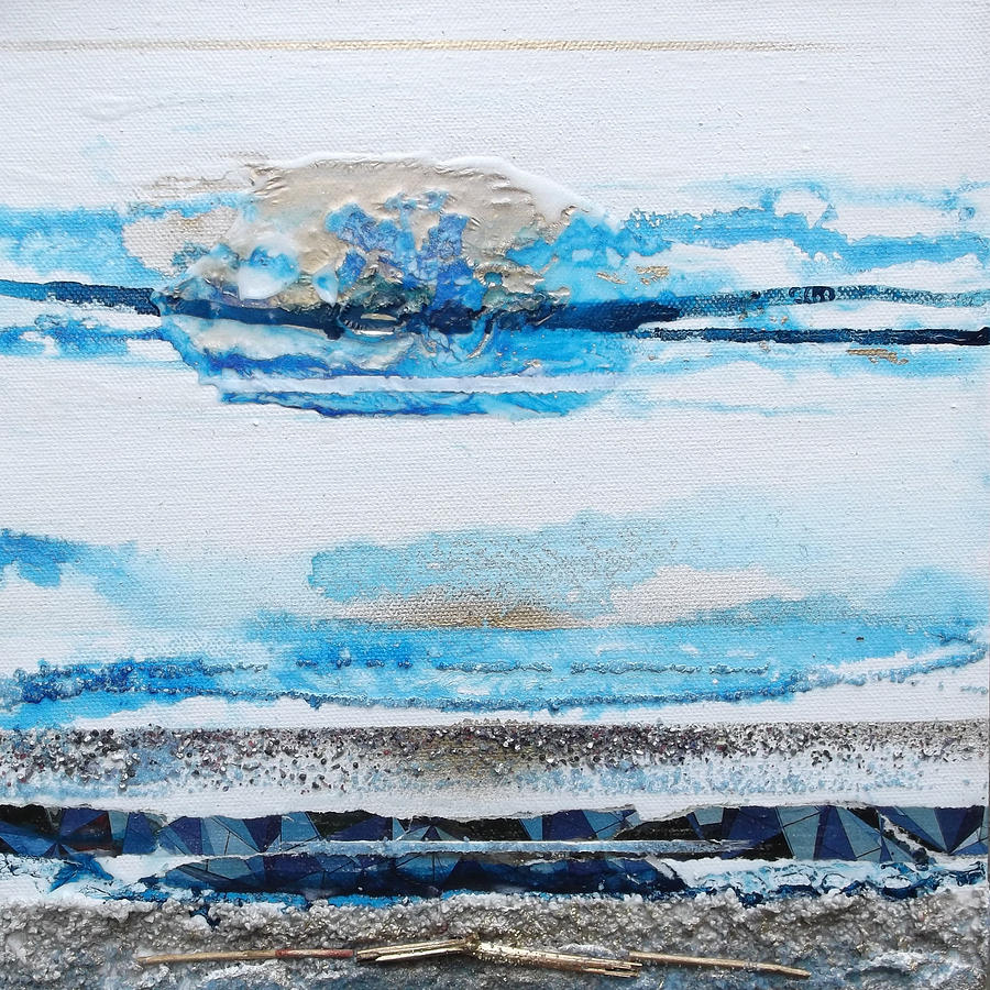 Abstract Mixed Media - Blue Shore Rhythms And Textures IIi by Mike   Bell