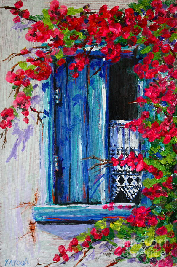 Blue Shutters 02 Painting By Yvonne Ayoub