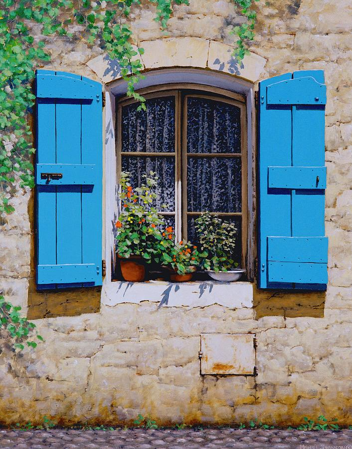 Blue shutters painting by michael swanson for Window and door companies near me