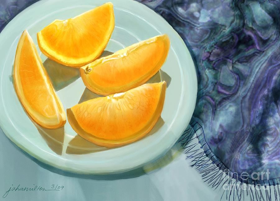 Oranges Painting - Blue Silk And Oranges by Joan A Hamilton