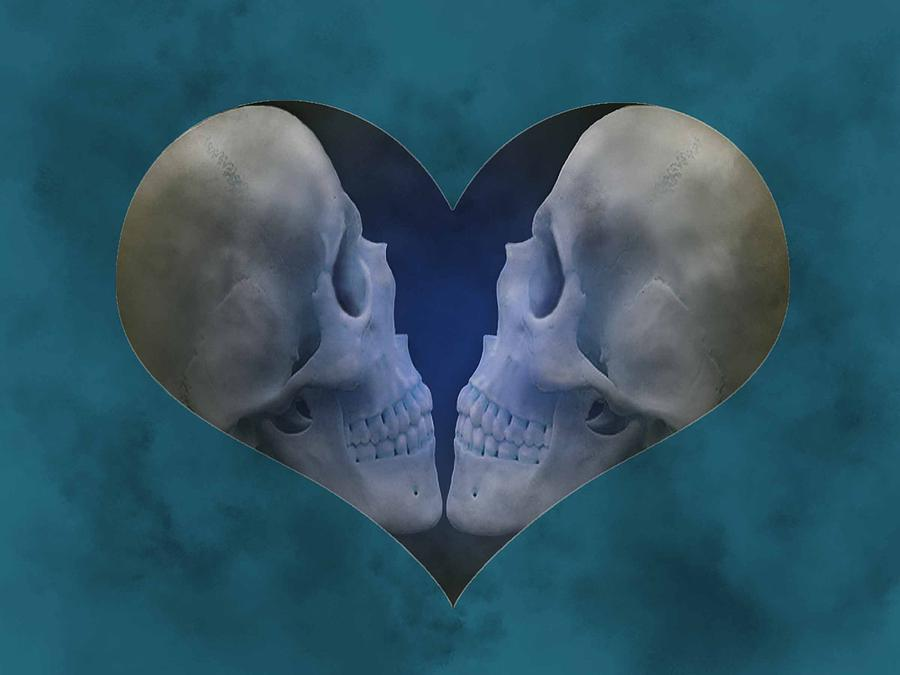 Love Digital Art - Blue Skull Love by Diana Shively