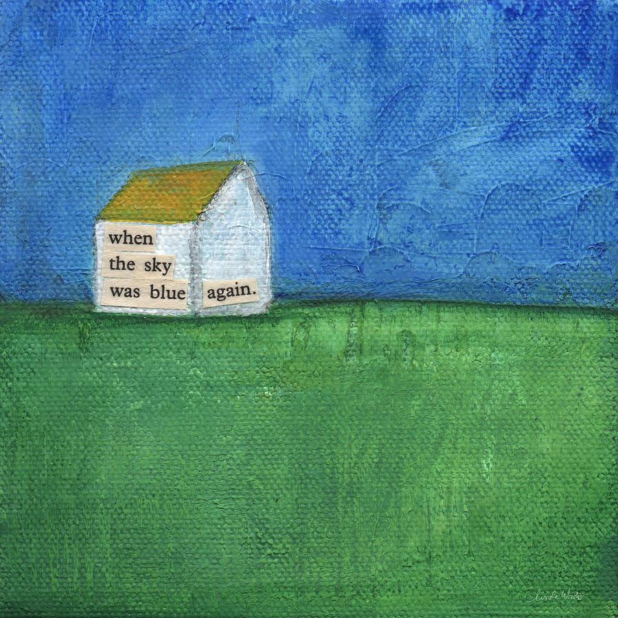 Folk Art Landscape Painting - Blue Sky Again by Linda Woods