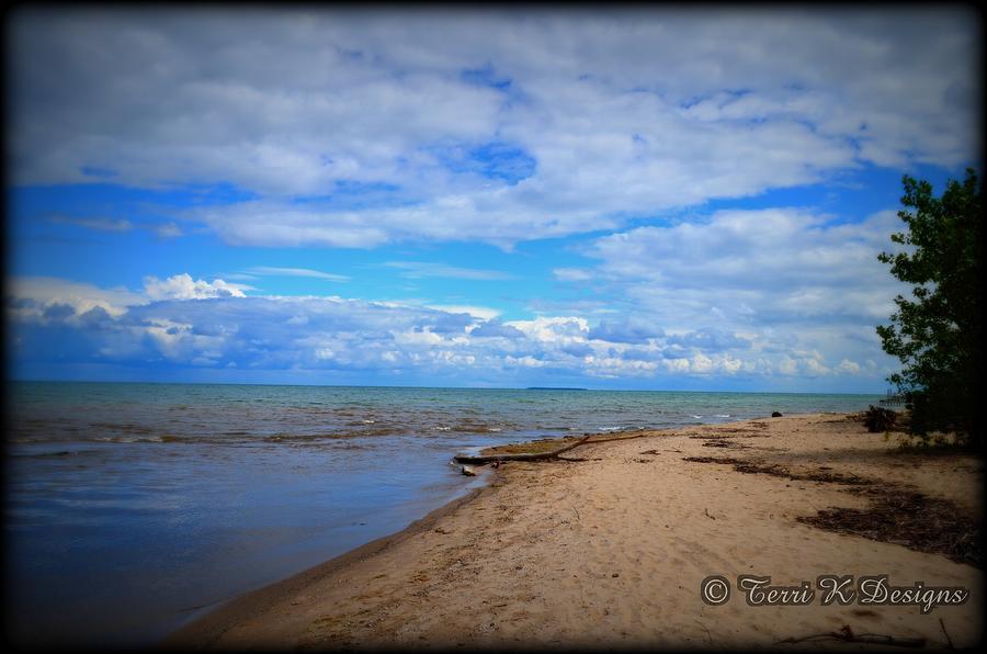 Beach Photograph - Blue Sky Beach by Terri K Designs