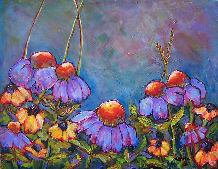 Flowers Painting - Blue Sky Flowers by Blenda Studio