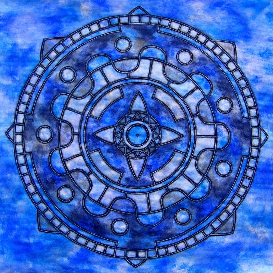 Mandala Painting - Blue Sky Mandala by Vlatka Kelc