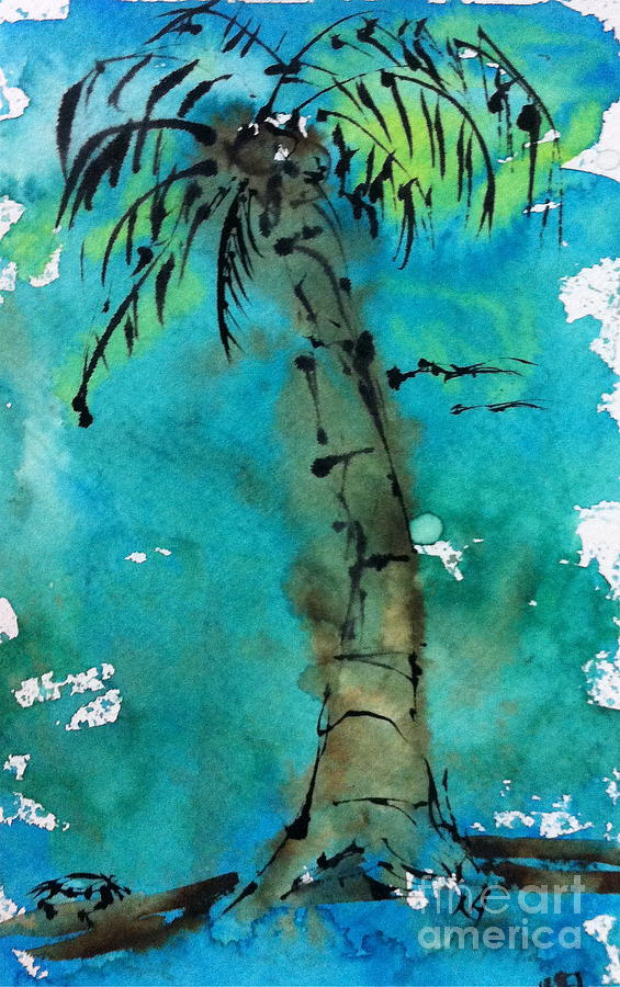 Watercolor Painting - Blue Sky Palm by Norma Gafford