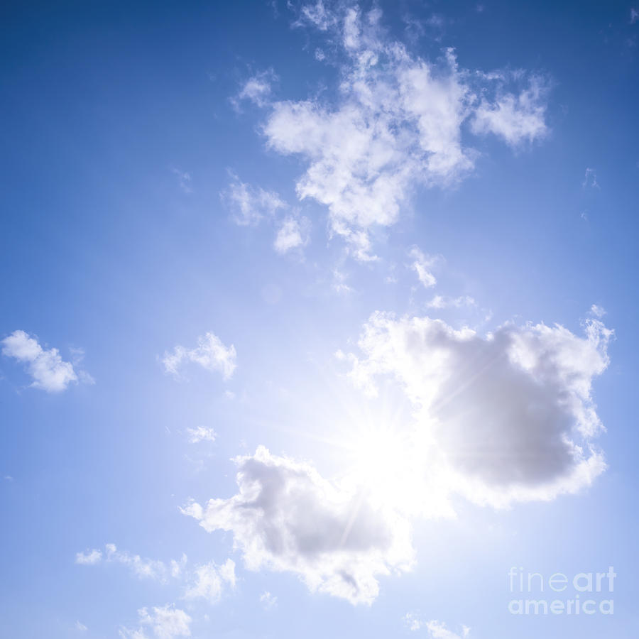 Sky Photograph - Blue Sky With Sun And Clouds by Elena Elisseeva