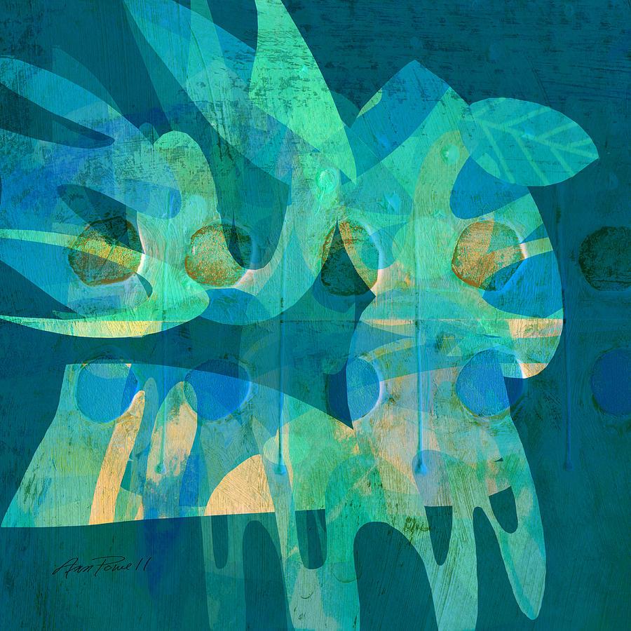 Blue Digital Art - Blue Square Retro by Ann Powell
