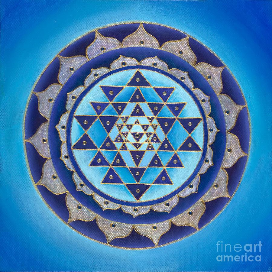Mandala Painting - Blue Sri Yantra by Charlotte Backman
