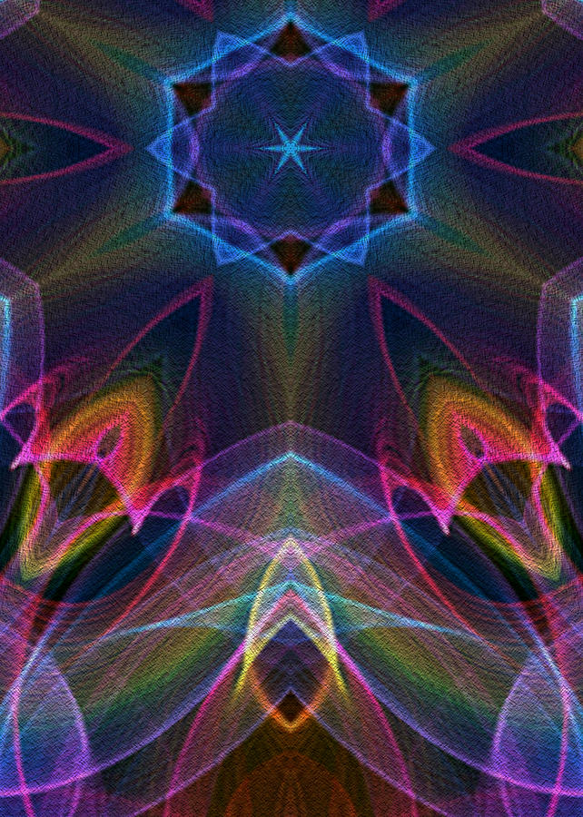 Flame Fractal Digital Art - Blue Star by Owlspook