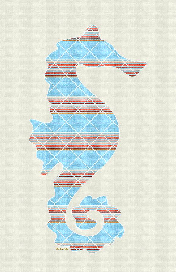 Blue Seahorse Art Mixed Media