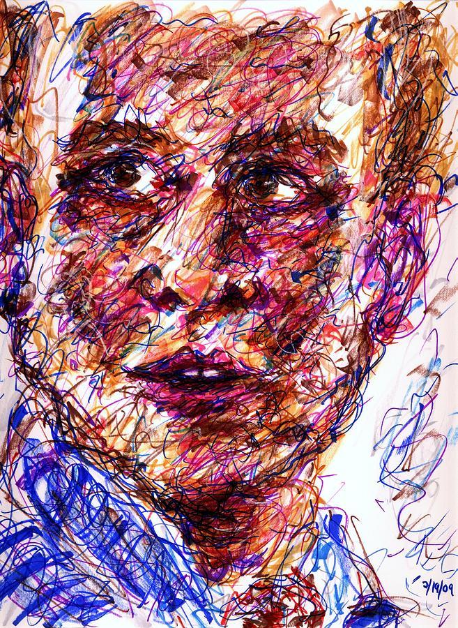 Man Drawing - Blue Suit by Rachel Scott