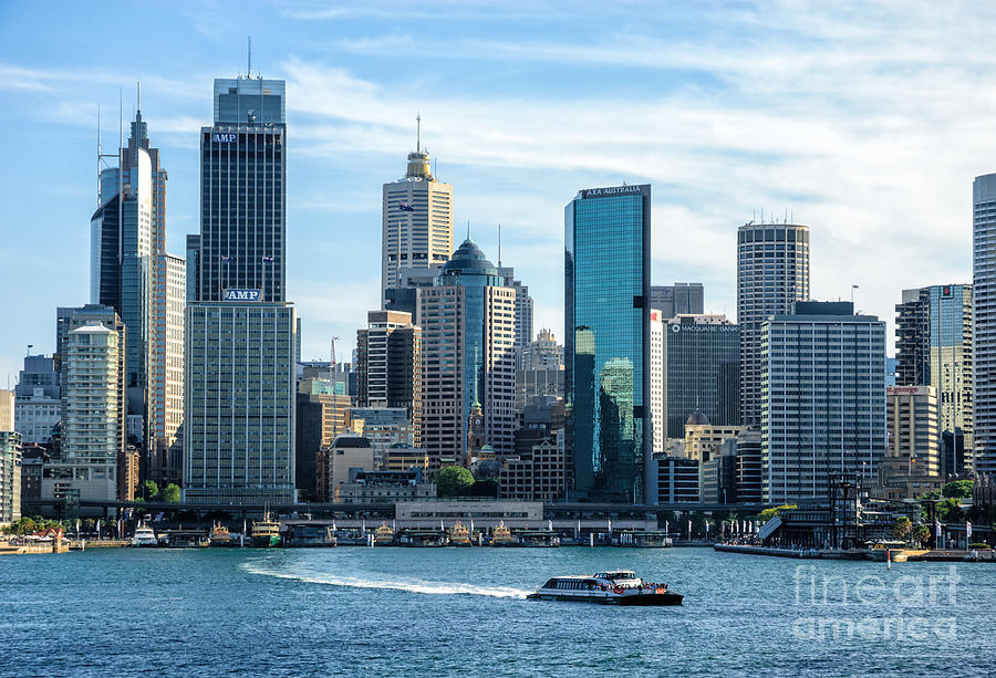 Sydney Photograph - Blue Sydney - Circular Quay And Sydney Harbor With Skyscapers And Ferry by David Hill