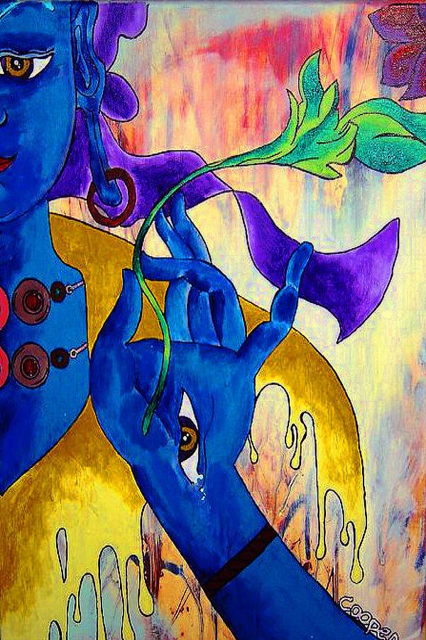 Arya Tara Painting - Blue Tara  by Kevin J Cooper Artwork