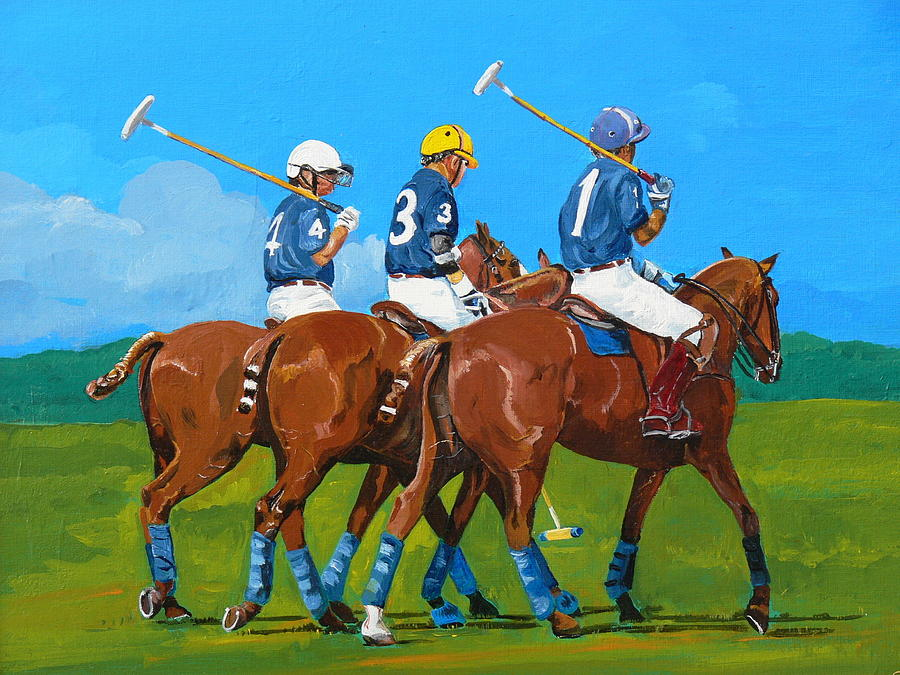 Polo Painting - Blue Team by Janina  Suuronen