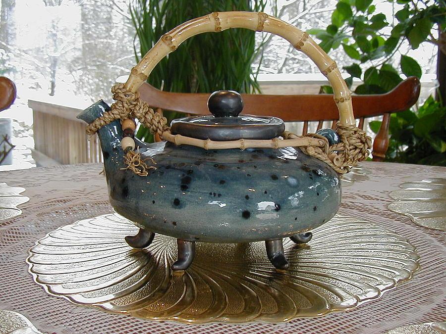 Ceramic Art - Blue Teapot by Beth Gramith