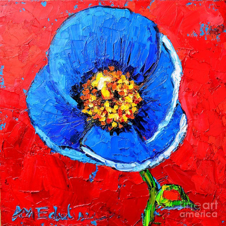 Poppy Painting - Blue Tibetan Poppy by Ana Maria Edulescu