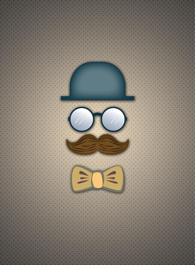 Top Hat Digital Art - Blue Top Hat Moustache Glasses and Bow Tie by Ym Chin