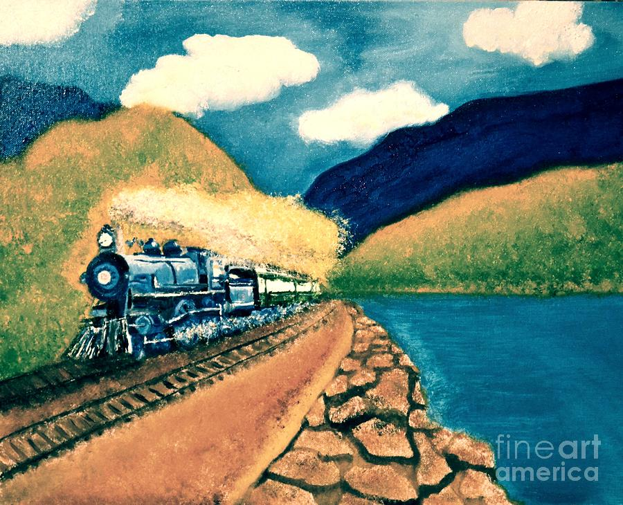 Landscape Painting - Blue Train by Denise Tomasura