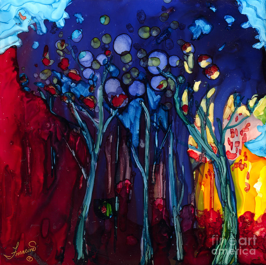 Blue Trees One by Francine Dufour Jones
