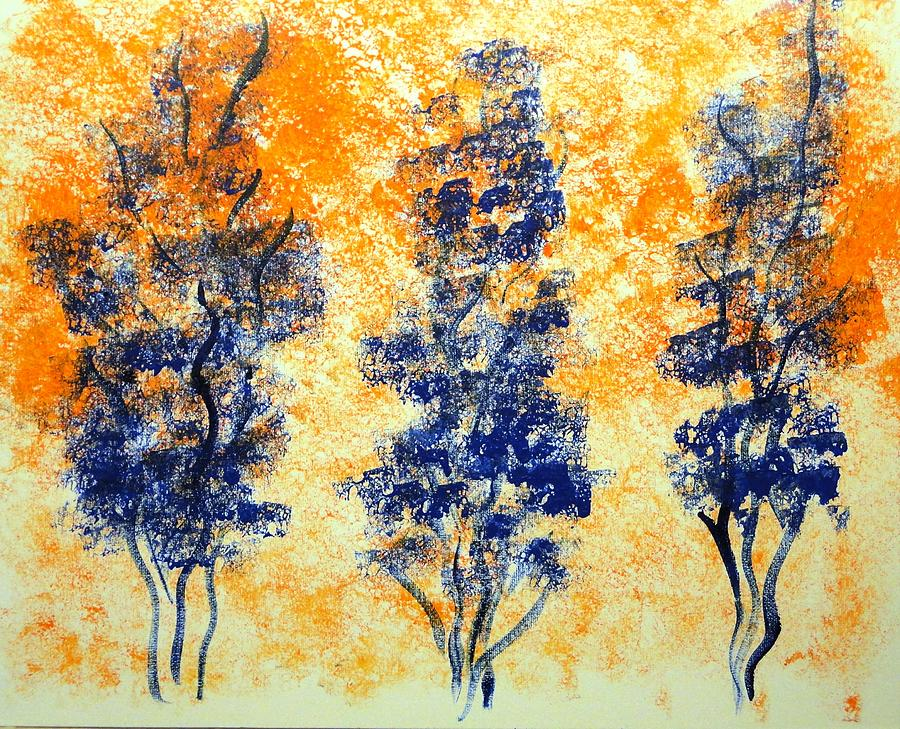 Trees Painting - Blue Trees by Valerie Howell