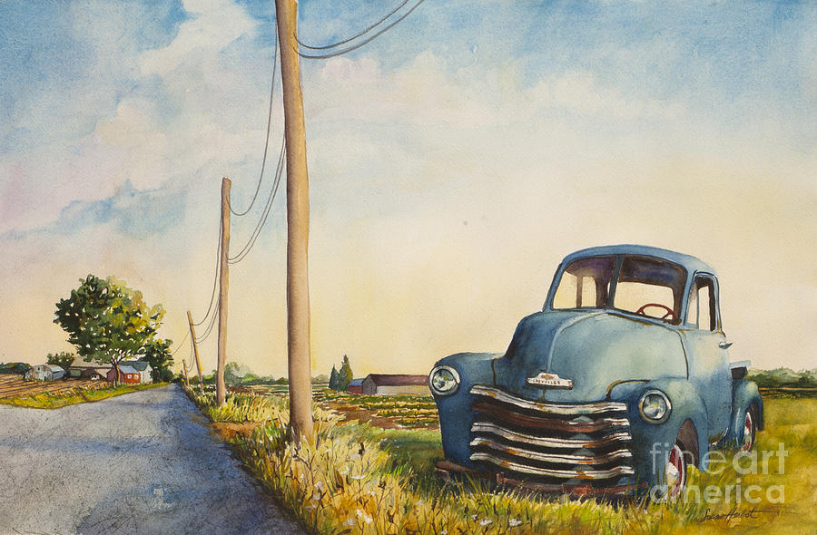 Blue Truck Painting - Blue Truck North Fork by Susan Herbst