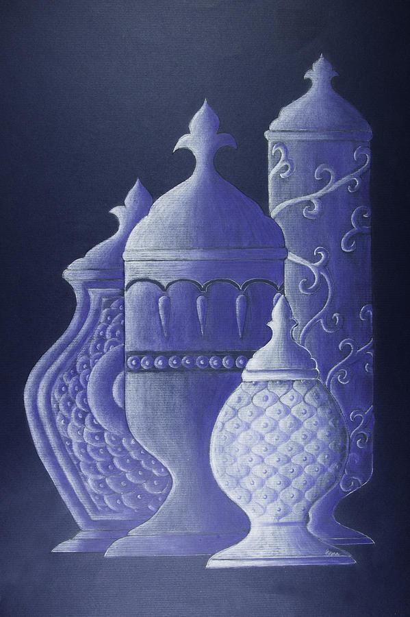 Blue Drawing - Blue Urns by Hema Narayanan